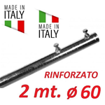 Palo Singolo Rinforzato Antenna 2 Metri Ø  60 Made In Italy Tv Wifi