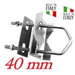 Staffa A Ringhiera Per Antenna Per Palo 25 40Mm Made In Italy Zincato