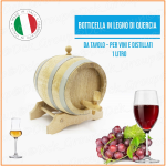 Botte Botticella Dispenser Legno di Quercia 1 litro Vino Vini Whiskey Grappa Distillati