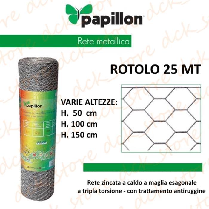 50mt-ROTOLO RETE METALLICA ZINCATA TRIPLA TORSIONE x RECINZIONE GALLINE POLLI